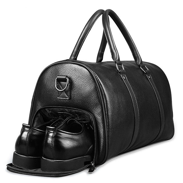 Feger Brand Fashion Extra Large Weekend Duffel Bag Big Genuine Leather Business Men'S Travel Bag