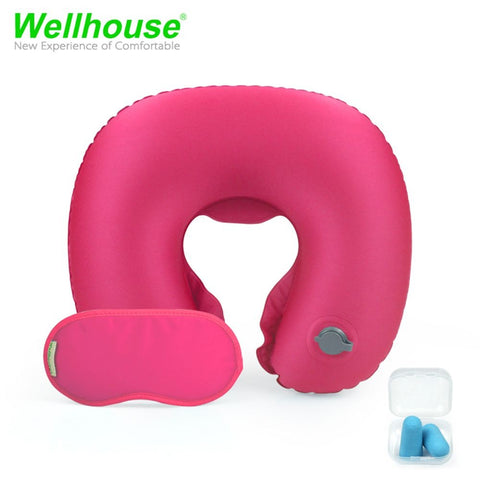 Wellhouse Set Of 3 Inflatable U Shape Neck Pillow Portable Neck Cushion Travel Pillow For Head &