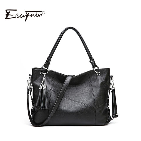 Women'S Handbags Cow Leather Luxury Design Tassel Female Shoulder Bag Large Capacity Casual Tote