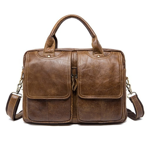 Westal Messenger Bag Men'S Shoulder Bag Genuine Leather Male Bags Men'S Briefcase Laptop 14''