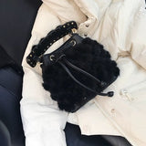2019 New Winter Luxury Women Brand Mink Fur Bag Warm Real Fur Shoulder Bag Lady Pu Leather Casual