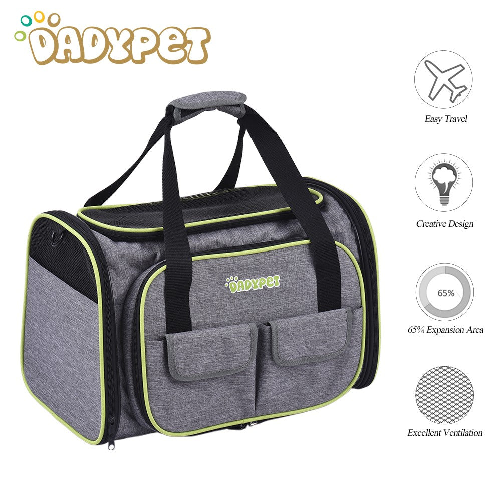 Dadypet Expandable 600d Material Travel Pet Carrier Soft Sided Foldable Pet Dog Cat Carrier Bag
