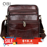 Qibolu Cow Genuine Leather Messenger Bags Men Travel Business Crossbody Shoulder Bag For Man
