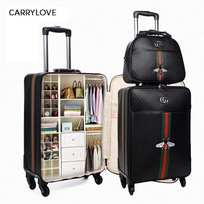 Carrylove Fashion 16/20/24 Inch Size Handbag+Rolling Luggage 100%Pu Travel Suitcase