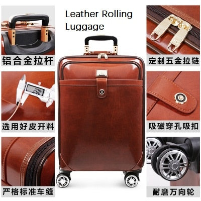 Carrylove High Quality Retro Luxury 16/20/22 Size Cow Leather Rolling Luggage Spinner Brand