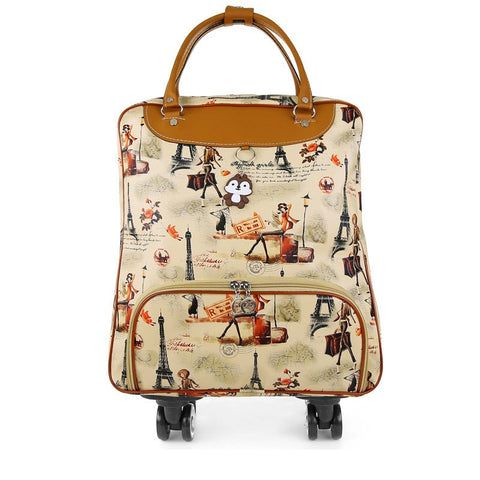 "Trolley Trolley 16 ""Inch Rolling Luggage Luggage Bag Leather Pu Trolley Bag Women'S Proof D"