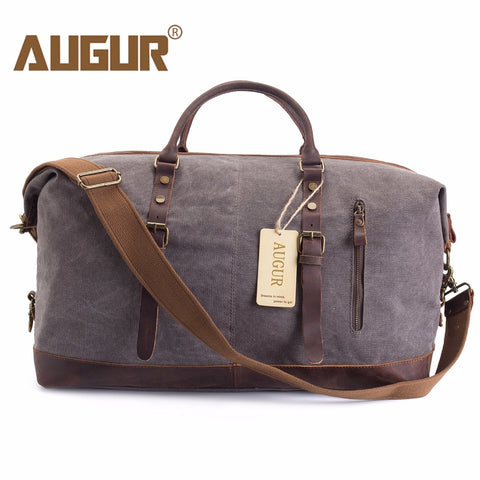 Augur Men Travel Bags Canvas Leather Carry On Luggage Bags Men Duffel Bags Travel Tote Large