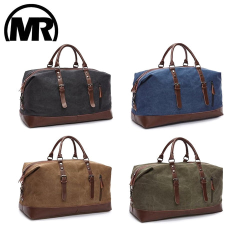 Markroyal Canvas Leather Men Travel Bags Carry On Luggage Bags Men Duffel Bags Handbag Travel