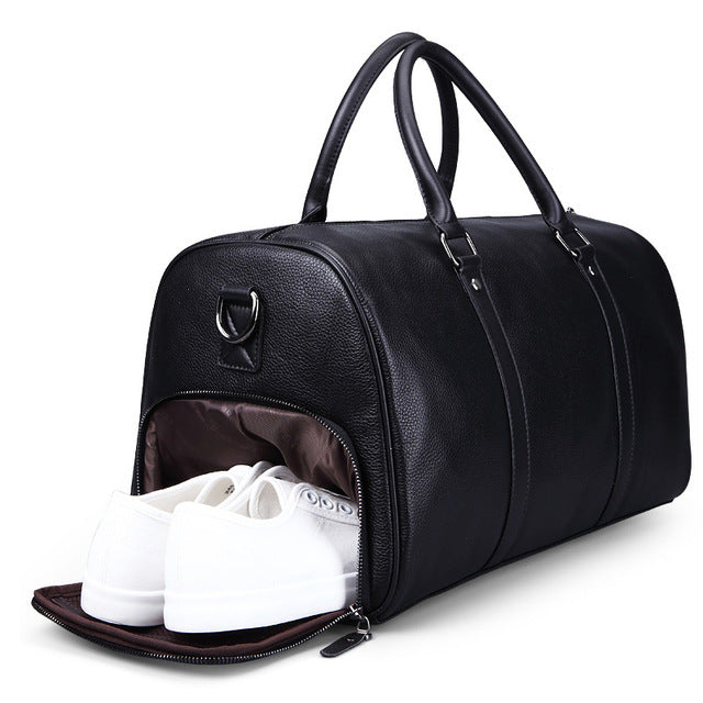 New Brand Fashion Extra Large Weekend Duffel Bag Large 100% Genuine Leather Business Men'S Travel