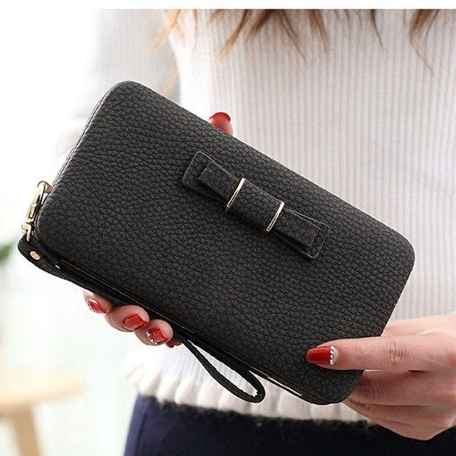 Colorful Bowknot Pendant Pu Leather Long Casual Women'S Clutch Handbag Women Interior Slot Pocket