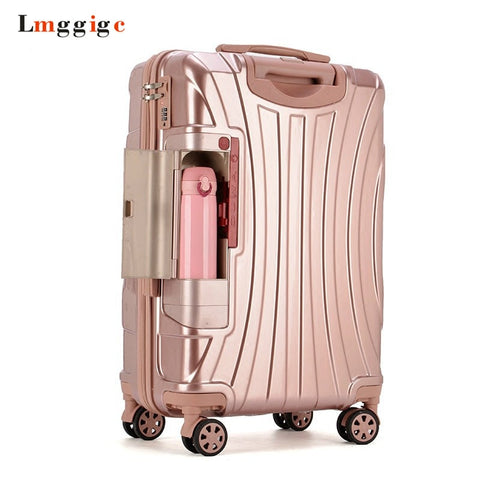 Pc Rolling Suitcase With Cup Holder,Travel Luggage Bag ,Universal Wheel Trip Trolley