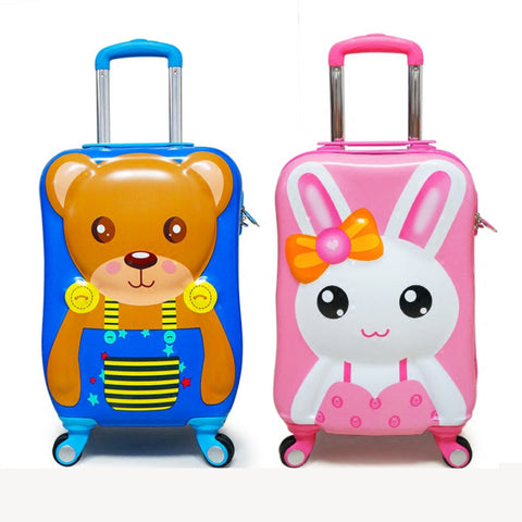 3D Stereo Child Trolley Case,Bunny Air Suitcase,Universal Wheel Cartoon 20 Inch,Abs+Pc Storage