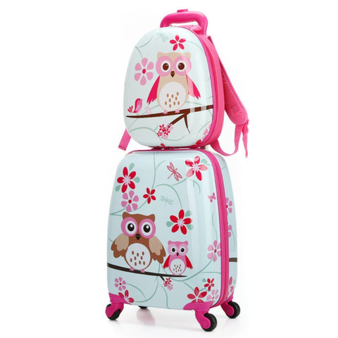 Abs+Pc Artoon Cute Animal Kids Rolling Luggage Set Spinner Children Suitcases Wheel Trolley