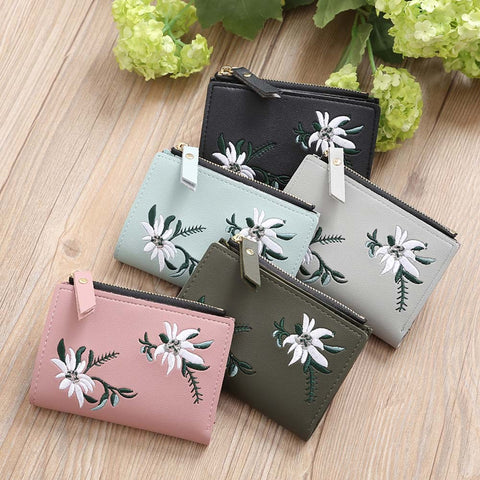 Women Embroidery Zipper Short Wallet Coin Purse Card Holders Handbag
