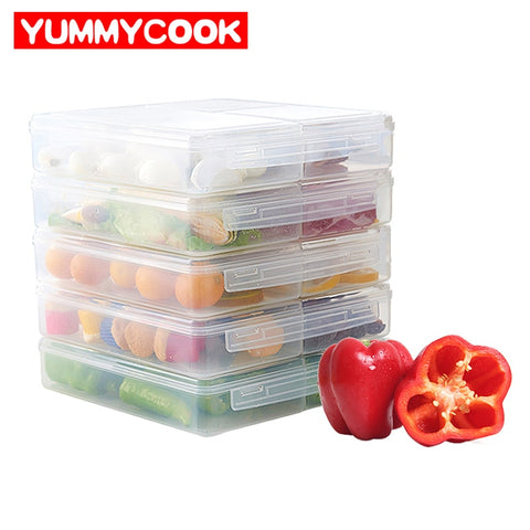 1Pcs Fridge Food Storage Organizer Box 3 Grid Fresh Fruit Fresh Keeping Container Kitchen