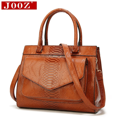 Jooz New Fashion Woman Bag Luxe Cuir Serpentine Women'S Leather Handbags With Pouch Ladies Trunk