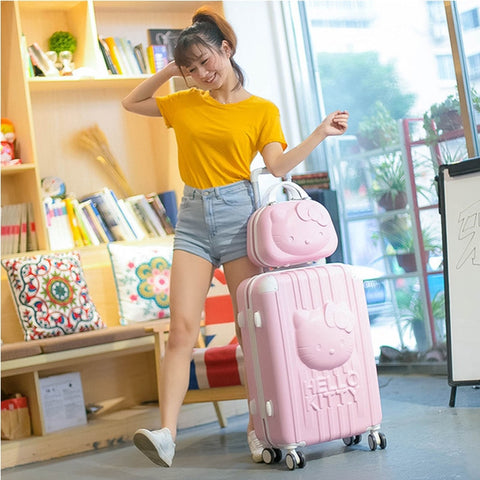 2Pcs/Set Lovely 14Inch Cosmetic Bag 3D Hello Kitty 20 24 Inches Girl Students Trolley Case Travel