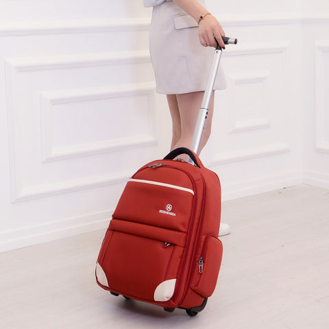 New Fashion Waterproof Oxford Trolley Travel Backpack Hand Luggage Suitcase Bags On Wheels Unisex