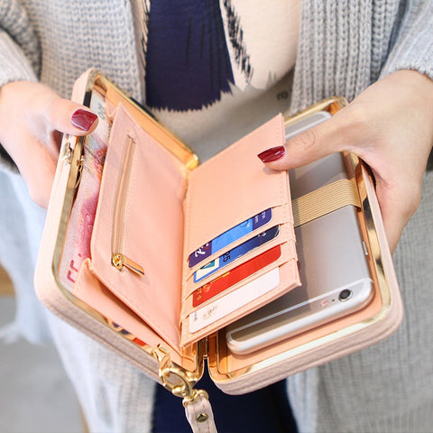 Purse Bow Women'S Wallet Female Famous Brand Card Holders Cellphone Pocket Pu Leather Women Money