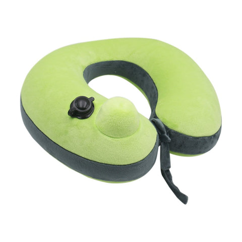 Soft Travel Pillow For Cervical Spine Neck Protection U-Shaped Air Blowing Airplane Pillows Green