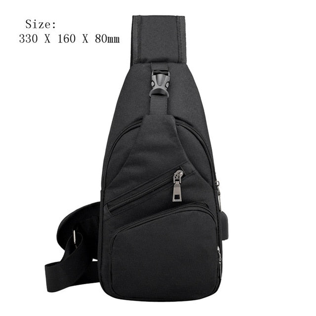 Male Leisure Sling Chest Pack Crossbody Bags For Men Messenger Canvas Usb Charging Leather Men'S