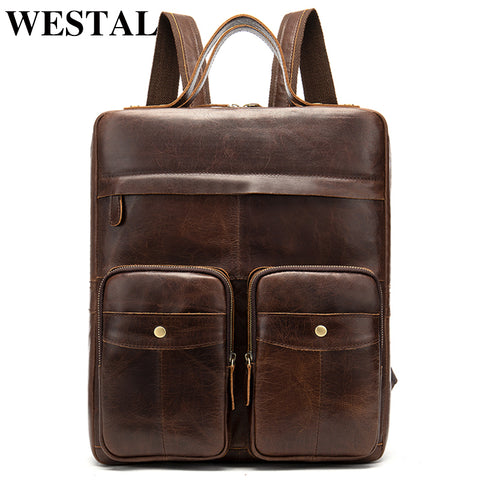 Westal Genuine Leather Backpacks For Teenager Men Laptop Backpack Leather Mochila School Bag Travel