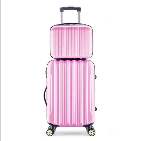 "2Pes/Set Luggage Bag 14""+24""  Travel Suit Case Tas Lock Carry On Vintage Trolley For Women Men"