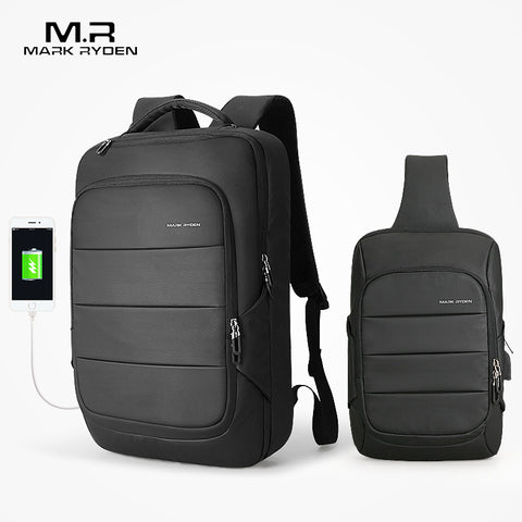 Mark Ryden Man Backpack Chest Bag Waterproof Usb Recharging Backpacks Fit 15.6 Inches Laptop Fit