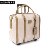 Monfere Large Fashion Women Carry-Ons Travel Bag Vegan Leather Print Trolley Luggage Overnight