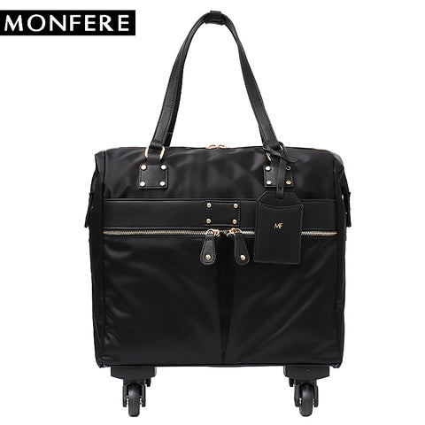 Monfere Carry-Ons Travel Bag Unisex Spinner Wheels Microfiber Vegan Leather Luggage Overnight
