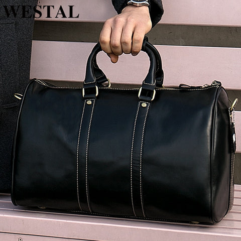 Westal Business Men Travel Bags Hand Luggages Genuine Leather Suitcase Leather Travel Duffle Bag