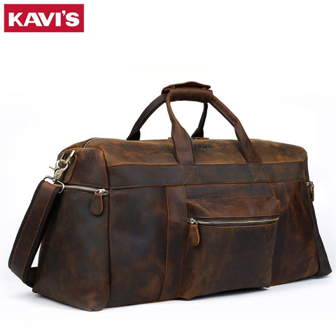 Kavis Crazy Horse Genuine Leather Travel Bag Men Travel Duffel Bag Big Cow Leather Carry On Luggage