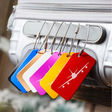 7Pcs/Set Aluminium Travel Accessories Luggage Tag Baggage Suitcase Backpack Bags Address Tags