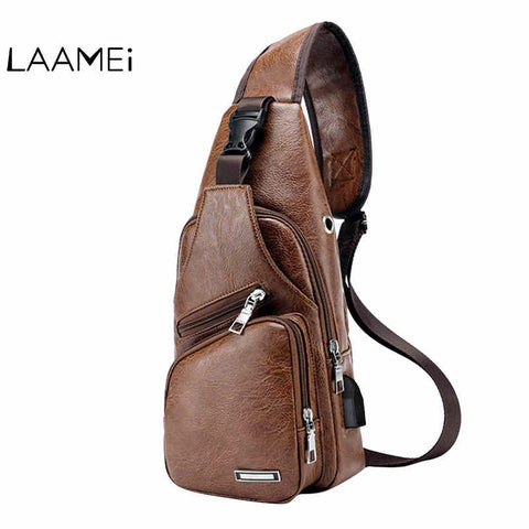 Laamei Men Crossbody Bags Messenger Leather Shoulder Bags Chest Bag Usb With Headphone Hole