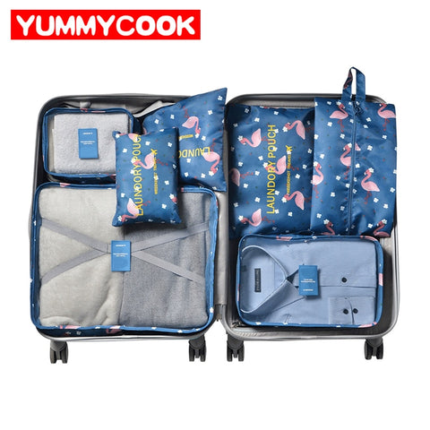 7Pcs/Set Shoes Clothes Storage Bag Women Travel Shirt Underware Suitcase Organizer Mesh Zipper