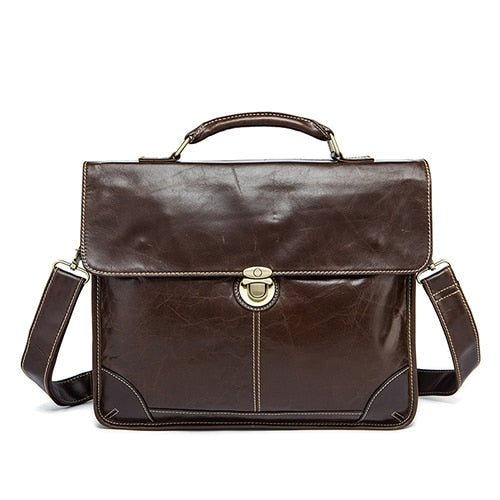 Mva Men'S Bag For Men Documents Genuine  Leather Briefcase 14'' Laptop Totes Bags Hasp Messenger