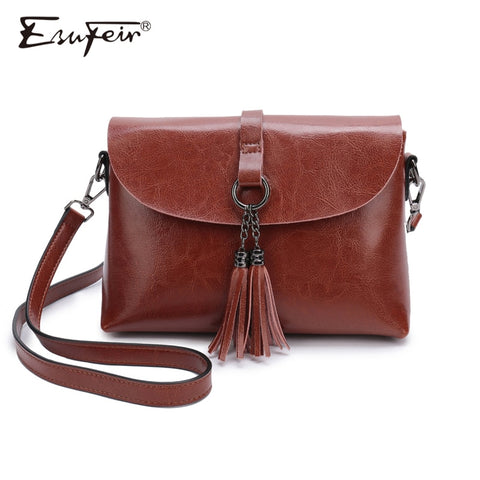 New Arrival Genuine Leather Women Crossbody Bag Fashion Tassel Messenger Bag Simple Design Small