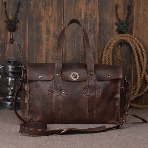 Nesitu High Quality Vintage Large Coffee Brown Grey-Blue Genuine Leather Men Travel Bags Male