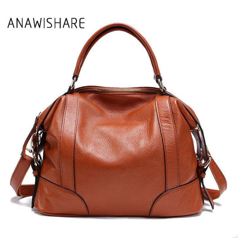 Anawishare Women Handbags Genuine Leather Crossbody Shoulder Bag Cowhide Real Leather Ladies