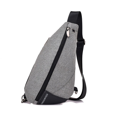 Canva Zipper Solid Chest Bag Casual Men'S Bag Single Silt Pocket Bags  Kkz