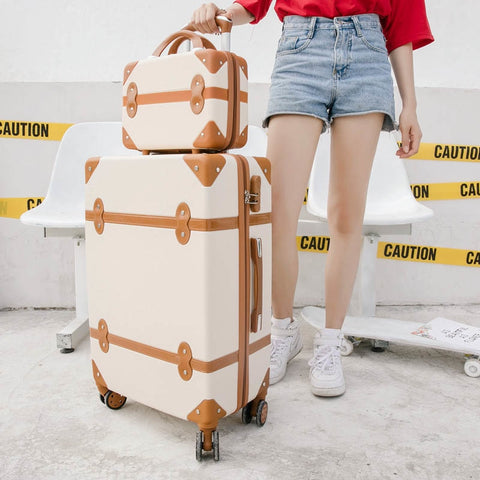 Beasumore Rolling Luggage Set Spinner Uisex Travel Bag Retro Suitcase Wheels Password Trolley 20