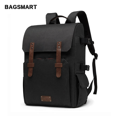 "Bagsmart Multifunctional Camera Backpack 15.6"" Laptop Bag Camera Bag With Waterproof Rain Cover"