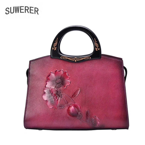 Suwerer 2019 New Women Genuine Leather Bags Handmade Embossing Luxury Leather Tote Shoulder Bag