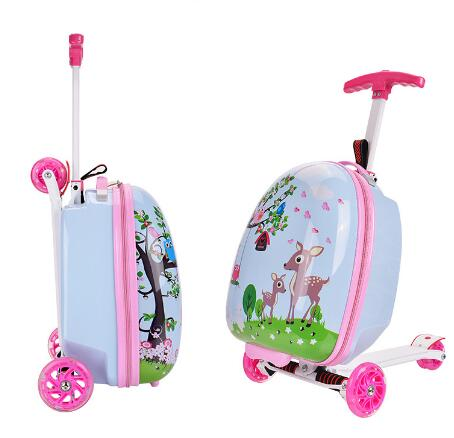 Skateboard Riding Suitcase Children Scooter Suitcase For Kids Travel Spinner Carry On Wheeled