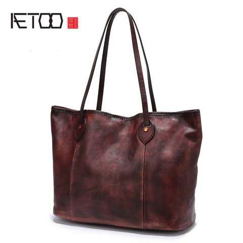 Aetoo Women Fashion Leather Handbags New Simple Atmosphere Tote Bag Soft Leather Shopping Bag Bag