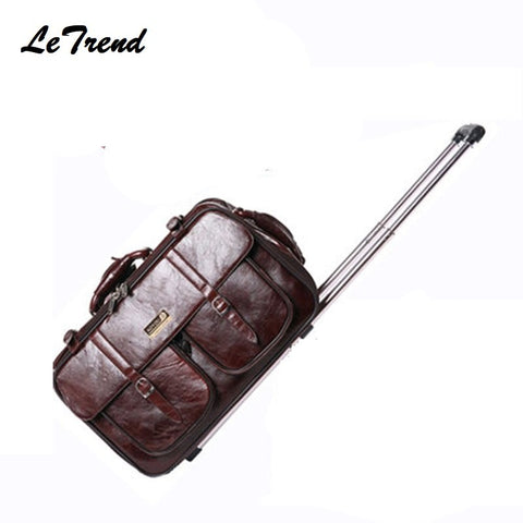 Pu Business Men Business Travel Bag Multi-Function Suitcase Leather Carry On Women Rolling
