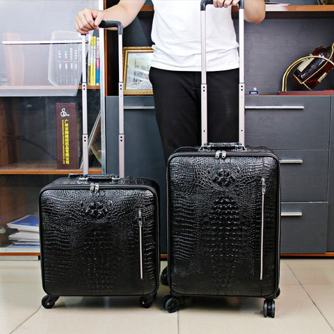 High Quality Luggage,Leather Trolley Case,Universal Wheel Suitcase,Crocodile Pattern Leather