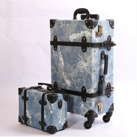 2018 Luggage Cowboy Material Suitcase Set Fashion Design 4 Wheels High Quality Free Shipping