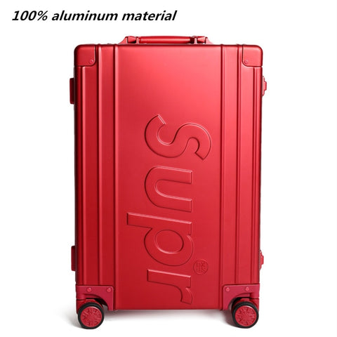 100% All Aluminum Rolling Travel Luggage Bag,Matte Material Suitcases With Wheel,New Red Carry-On