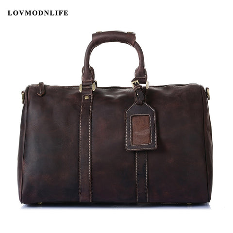 2019 High Grade Genuine Leather Travel Duffle Bags Men'S Luggage Overnight Bag Large Bags For Men
